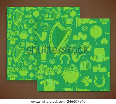 Vector modern seamless pattern on Saint Patrick's Day featuring Ireland harp, clover leaves, leprechaun hat, shoe, pint of beer, pot of gold and more | St. Patrick's Day wrapping paper pattern - stock vector