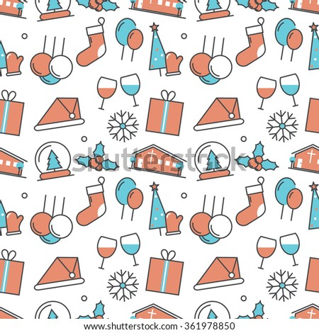 Vector modern seamless pattern texture background of flat christmas icons. Thin line illustration design for wallpapers, print,, packaging, magazines and backdrops on websites - stock vector