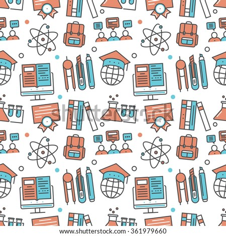 Vector modern seamless pattern texture background of flat online education, e-learning icons. Thin line illustration design for wallpapers, print,, packaging, magazines and backdrops on websites - stock vector