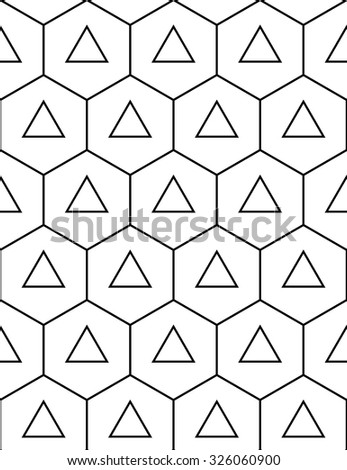 Vector modern seamless sacred geometry pattern hexagon triangles, black and white abstract geometric background, trendy print, monochrome retro texture, hipster fashion design - stock vector