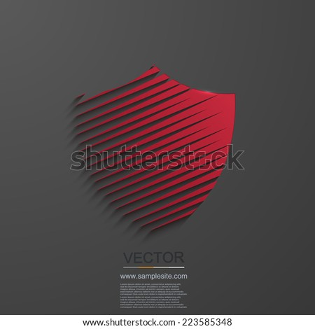 Vector modern shield icon on gray background. eps10 - stock vector