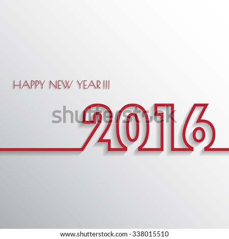 Vector Modern simple Happy new year 2016 card with a long shadow effect .Vector/illustration.