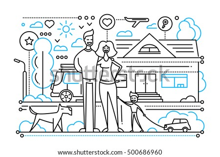 Vector modern simple line flat design city composition with a happy family