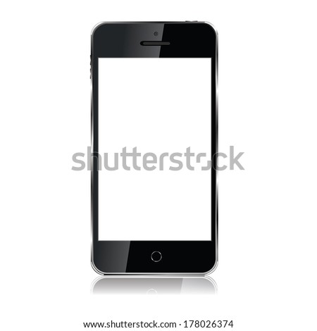 vector modern slim mobile phone with a large touch screen - stock vector