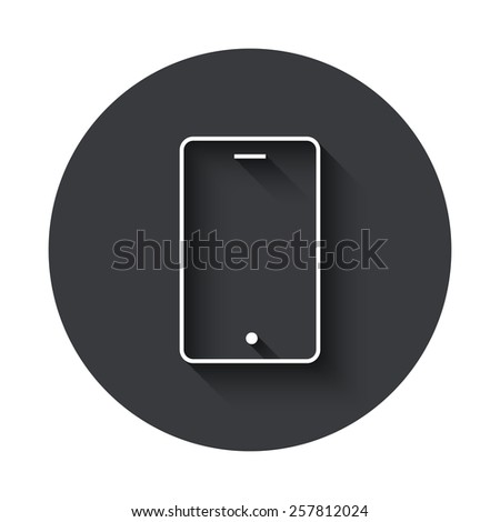 Vector modern smartphone gray circle icon on white background