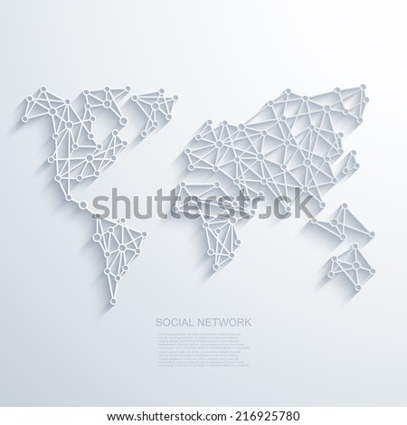 Vector modern social network background. World Map with shadow on gray background. Eps10 illustration - stock vector