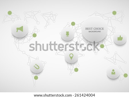 Vector modern social network infographic. Map background - stock vector