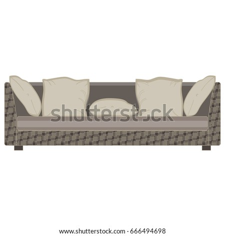 Vector Modern Sofa Flat Icon Isolated. Furniture Luxury Front View Elegant.  Colorful Comfort Decor