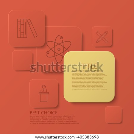 Vector modern square e-learning, coaching infographic background. Eps10 - stock vector