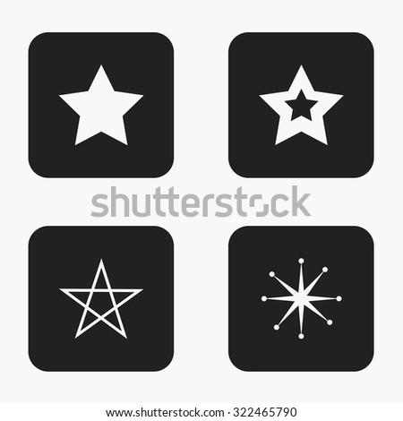 Vector modern star icons set on white background - stock vector