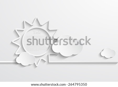 Vector modern sun with clouds background. Eps10  - stock vector