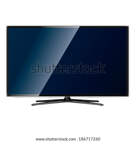 vector modern television screen on white background - stock vector