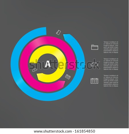 Vector modern template. Abstract cycle. Three interrupted circles in different colors. Long arrows with place for your content. Modern graphic element. - stock vector