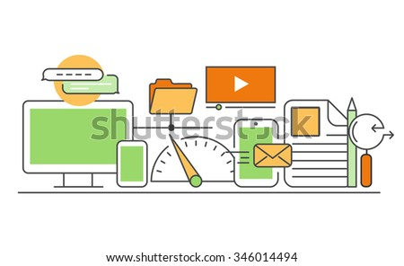 Vector modern thin line flat design of icons set. Business development, seo optimisation, infographic collection - stock vector