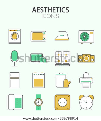 Vector modern thin line flat design of icons set. home appliances,  outline infographic collection - stock vector