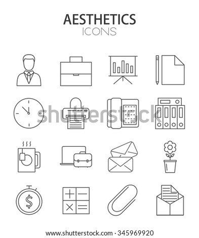 Vector modern thin line flat design of icons set. office outline infographic collection - stock vector