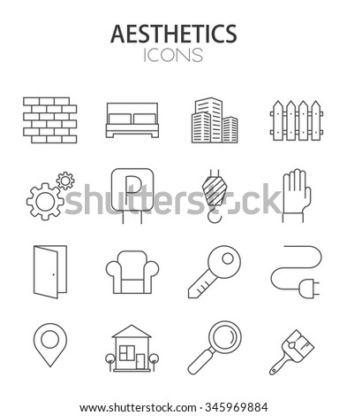 Vector modern thin line flat design of icons set. real estate outline infographic collection - stock vector