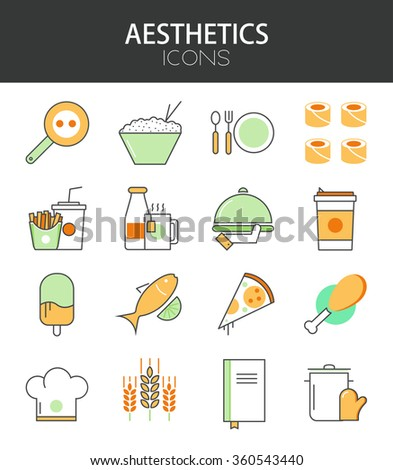 Vector modern thin line flat design of icons set. Restaurant menu, food infographic collection - stock vector