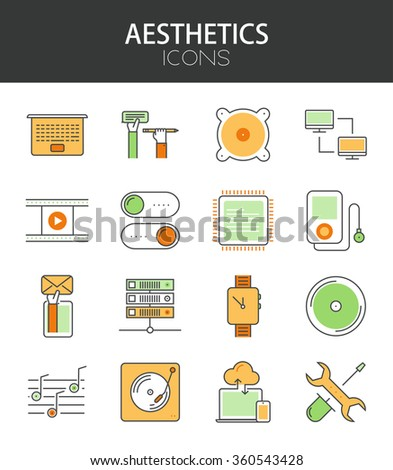 Vector modern thin line flat design of icons set. Technology and gadgets , infographic collection - stock vector