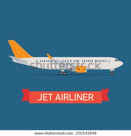 Vector modern travel web icon on transport passenger jet airliner plane, flat design, side view, isolated - stock vector