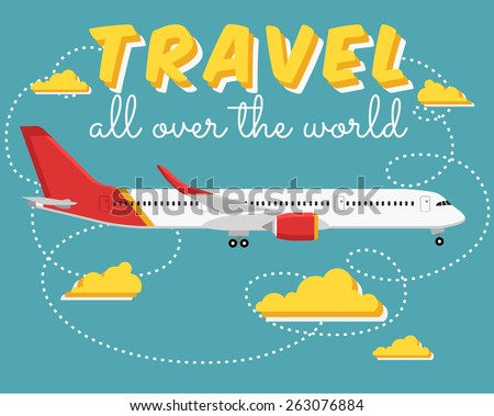 Vector modern travel web icon on transport passenger jet airliner plane, flat design, side view, isolated/ Travel all over the world - stock vector