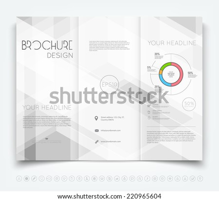 Vector modern tri-fold brochure design template with gray transparent hi-tech background - stock vector
