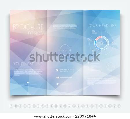 Vector modern tri-fold brochure design template with light geometric background - stock vector