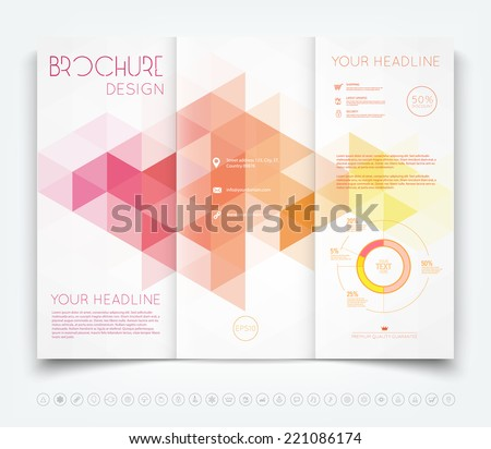 Vector modern tri-fold brochure design template with modern triangular mosaic background - stock vector
