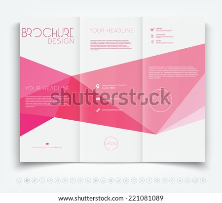 Vector Modern Tri Fold Brochure Design Template With Pink Polygonal  Background