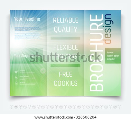 Vector modern tri-fold brochure design template with sunny blurred background - stock vector