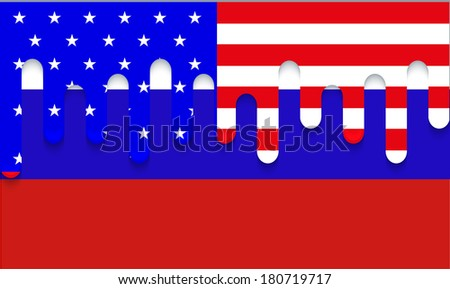 Vector modern usa and russia flag background.
