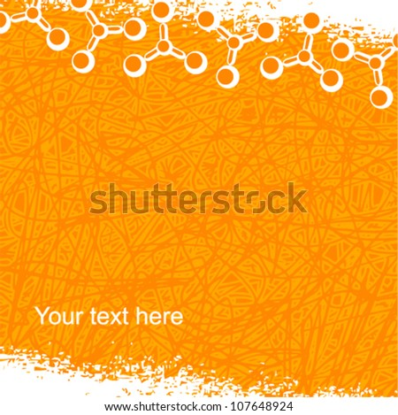 Vector molecule background (grunge style) - stock vector