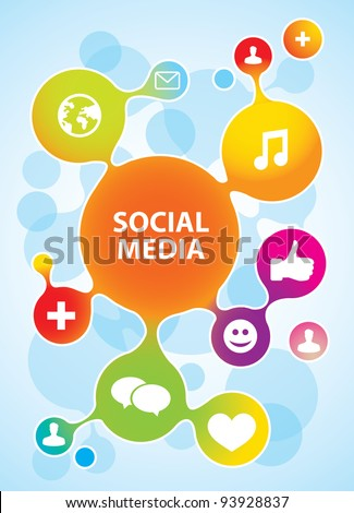 vector molecule structure in rainbow  colors with social media icons - stock vector