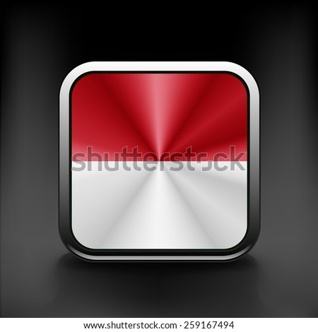 Vector - Monaco Flag Glossy Button icon national - stock vector
