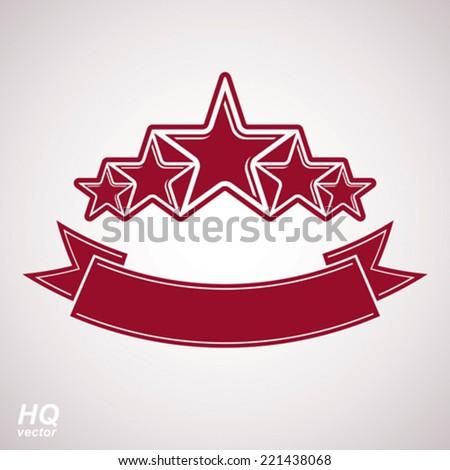 Vector monarch symbol. Festive graphic emblem with five pentagonal stars and curvy ribbon - decorative luxury eps8 template. Corporate branding icon, success concept theme design element. - stock vector