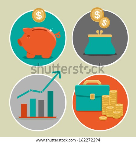 Vector money and business icons in flat style - infographic design elements - stock vector