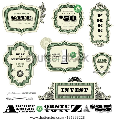 Vector Money and Financial Frame Set. Easy to edit. All layers are separated.  - stock vector