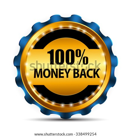 Vector Money Back Guarantee Gold Sign, Label EPS10 - stock vector