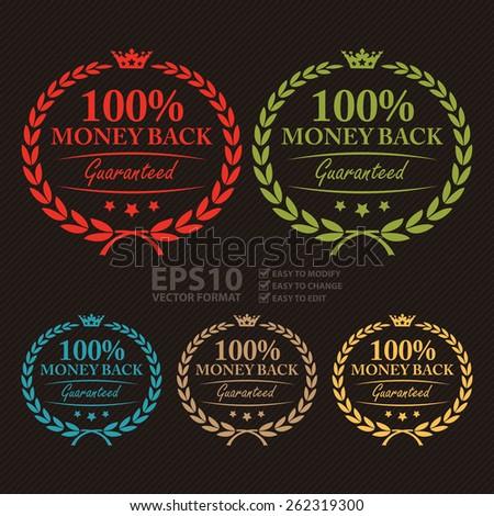Vector : 100% Money Back Guaranteed Wheat Laurel Wreath, Label, Sticker or Icon - stock vector