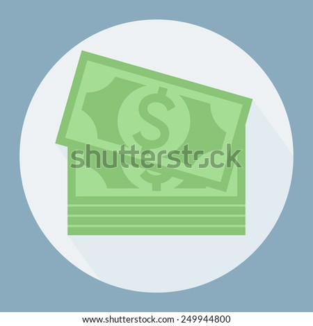 Vector money icon. Dollar bill icon - stock vector