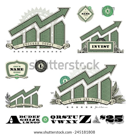 Vector Money Infographic Icons. Easy to edit, all pieces are separated.  - stock vector