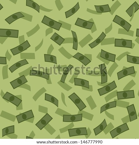 Vector money rain pattern - stock vector
