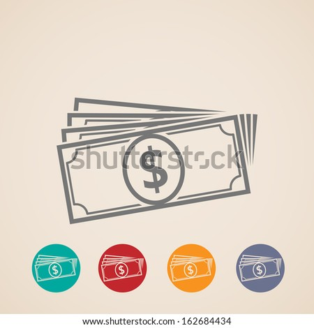 vector money stack icons - stock vector