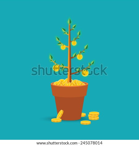 Vector money tree concept in flat style - stock vector