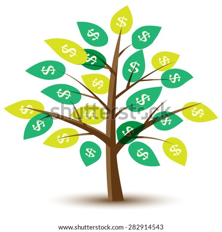 Vector money tree with leaves in dollars. Illustration.