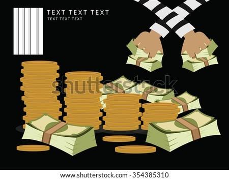 vector money was stolen - stock vector