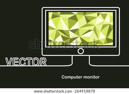 Vector monitor icon and space for text. Flat design.Banners.Seamless geometric background - stock vector
