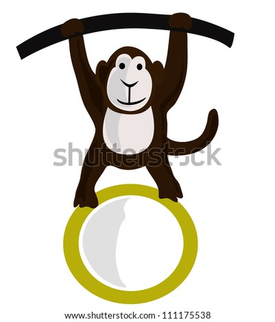 Vector - Monkey and the empty blank. - stock vector