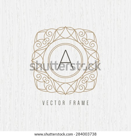 Vector mono line frame. Elegant monogram design template. - stock vector