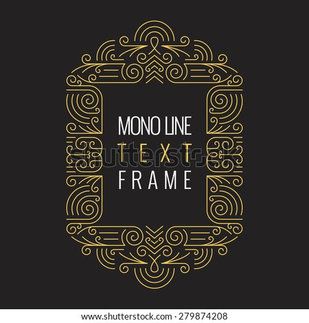Vector Mono Line style Geometric Frame Template for Text. Golden Monogram Design element for Labels and Badges - stock vector